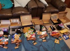 Some of the shoeboxes already made up from donations