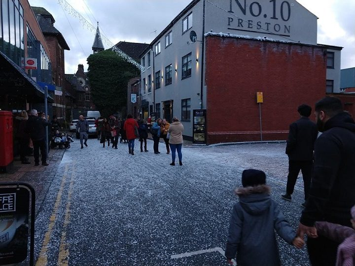 The scene in Theatre Street during Saturday 22 December Pic: Blog Preston