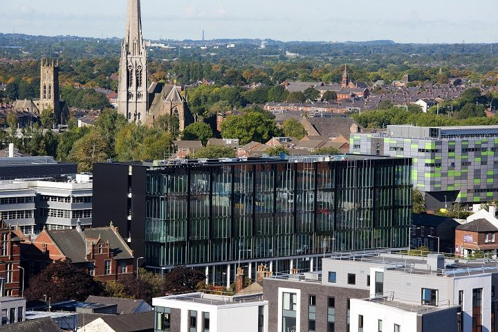 The new engineering building sits on the Adelphi roundabout