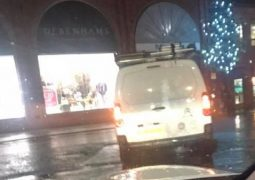 The van becomes lop-sided on the bollard structure Pic: Sarah Green