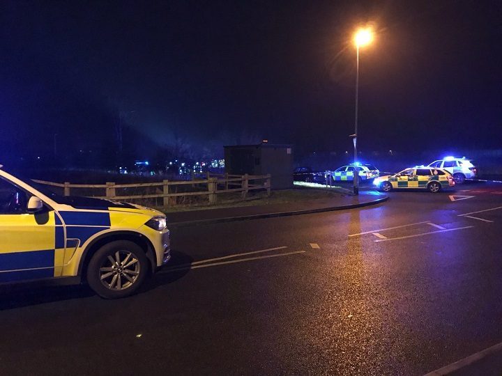 The scene in Wigan Road on Friday evening Pic: LancsRoadPolice