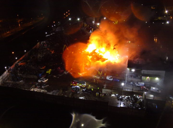 The scene in Longridge Road Pic: Lancashire Fire and Rescue Service Aerial Unit