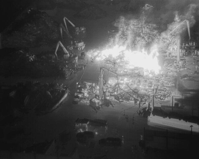 Another aerial image shows the heat from the site Pic: Lancashire Fire and Rescue Service Aerial Unit