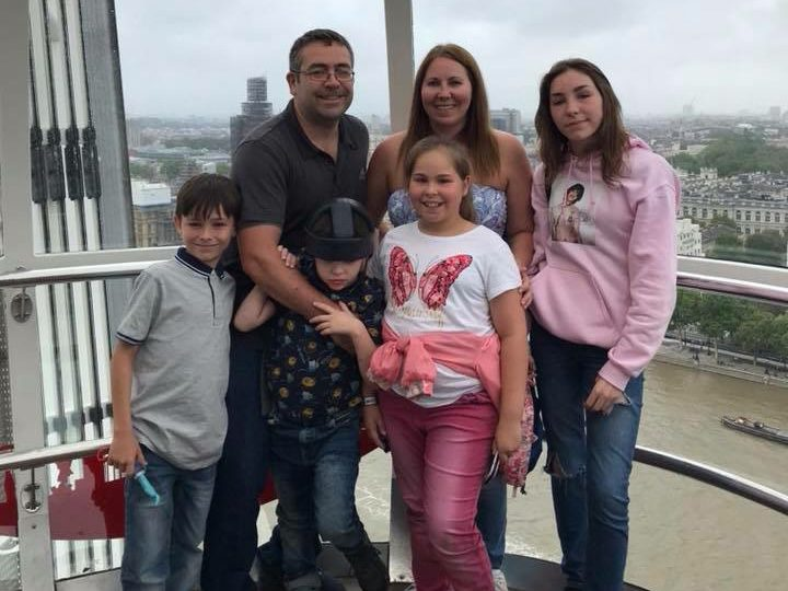 Ben with his mum, dad, older sisters Lara and Ferne, and twin Adam