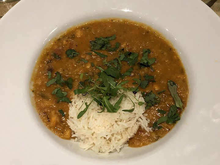 Spinach, sweet potato and lentil dhal