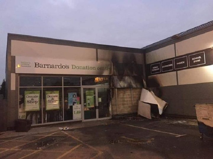 Fire damage to the Barnardo's shop and donation centre Pic: Jennifer Aitkenhead