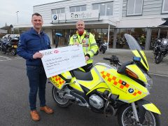 Handing over support to the blood bikers, Lee Townsend (North West Blood Bikes) and John Nichol (Bowker Motorrad)