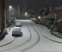 Snow falling in Grimsargh Pic: Andrew Hodgson