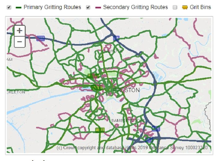 Green lines are primary routes which are gritted, purple lines are secondary routes. Blue lines for motorways which are always gritted.
