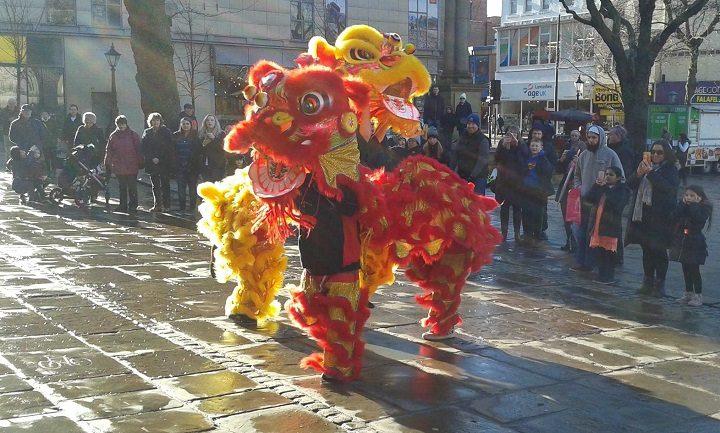 Lion dance in the Flag Market