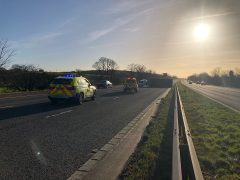 The scene on the M6 southbound approaching Junction 33 Pic: LancsRoadPolice