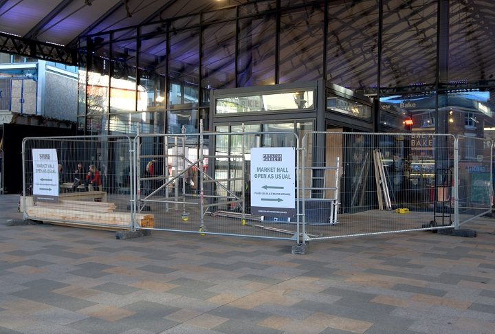 The work resumes at the Orchard Street end of the Market Hall Pic: Tony Worrall