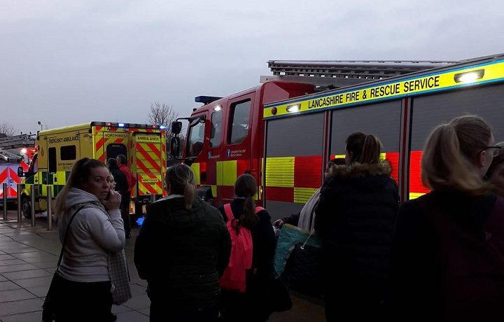 Shoppers evacuated from Morrisons and emergency services Pic: Blog Preston
