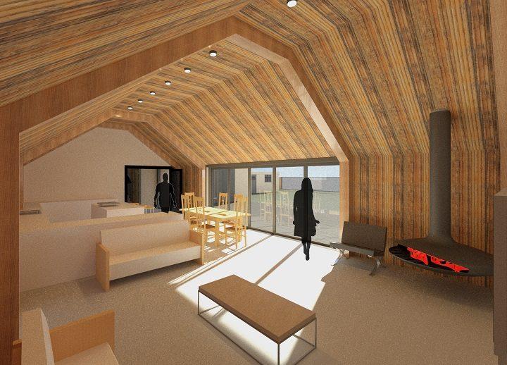 Inside one of the eco-homes Pic: Studio John Bridge