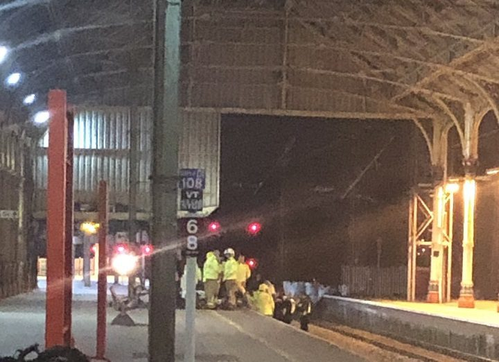 Emergency services could be seen on the tracks at platform three Pic: Katie Gunn