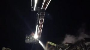 Aerial platforms were used to contain the flames in Longridge Road Pic: Lancashire Fire and Rescue Service