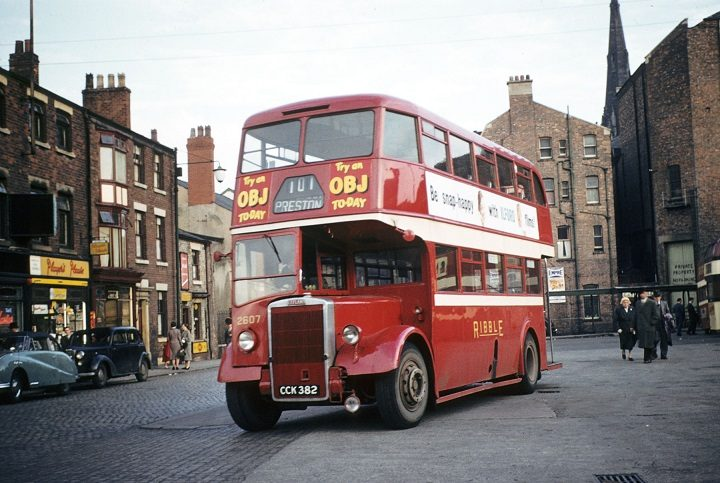A Ribble bus pulls away