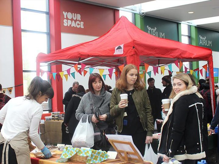 Stalls at a previous UCLan Craft and Food Fair