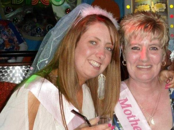 Vicki on her hen do in 2013 with mum Sue