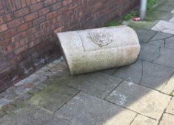 The bollard off the the side of Fishergate after being hit on Thursday Pic: Linda Mansley