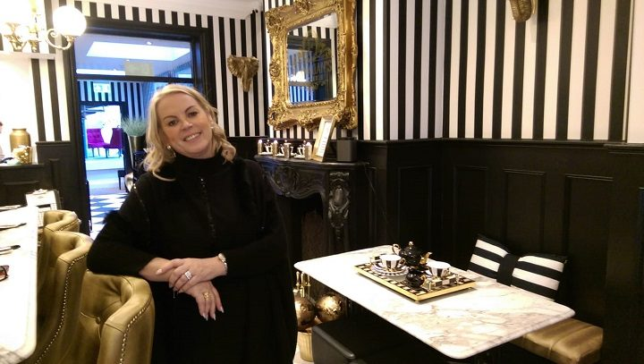 Jayne Flanagan inside the very black and white themed restaurant Pic: Blog Preston