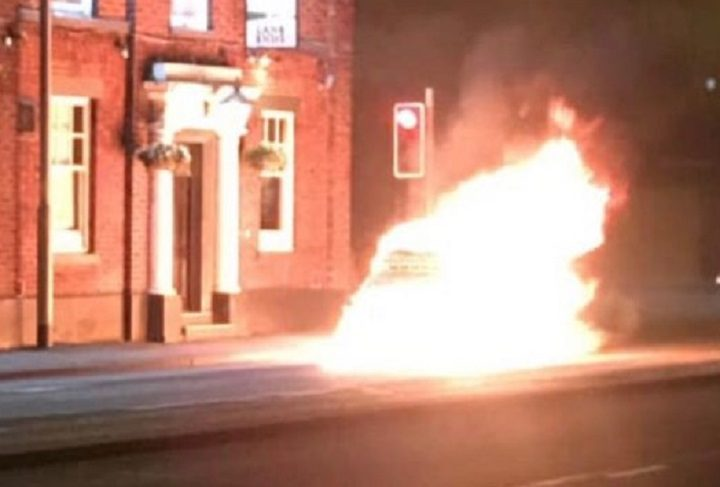 The car on fire at Lane Ends Pic: Alexandra McMillan/Blog Preston