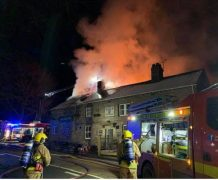 Flames are seen leaping from The Sirloin pub Pic: Russell Duckworth