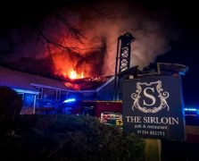 The fire raging at The Sirloin on Saturday evening Pic: Martin Saunders