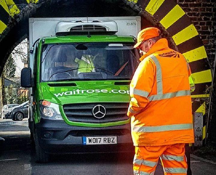 The delivery van stuck under Lytham Road bridge Pic: addamstimmble