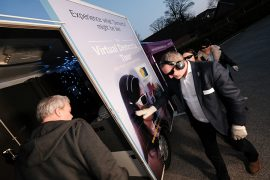 Guests step onboard the Virtual Dementia Tour at the VIP launch