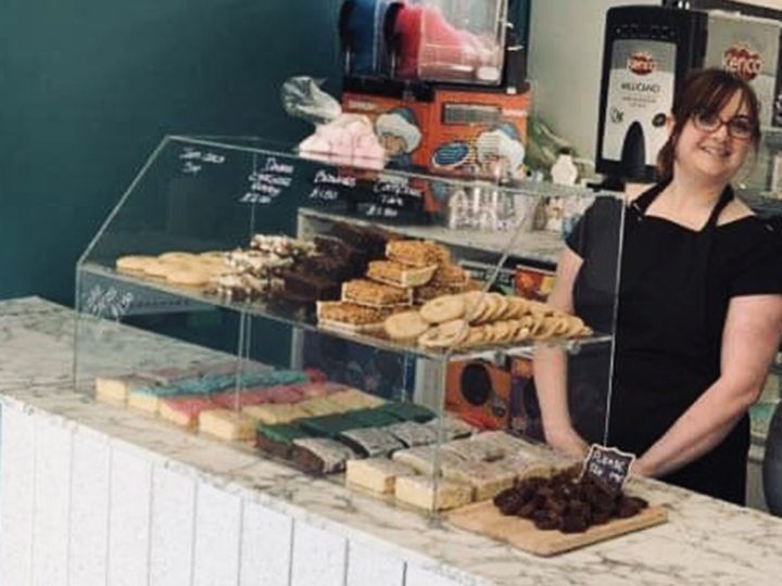 Stacey Lambert behind the counter at Stacey's Cake-Away