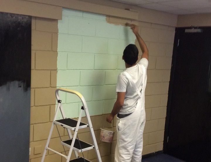 Repainting the walls inside the Acorns