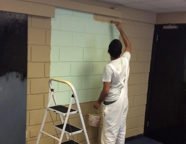 Repainting the walls inside the Acorns