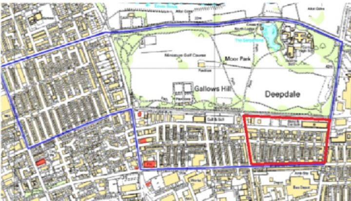 Map showing the Conservation Area and the red area shows which roads are being removed