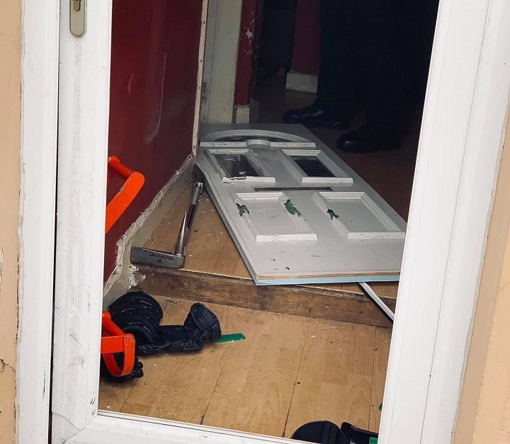 Police used a battering ram to enter the properties Pic: Preston Police