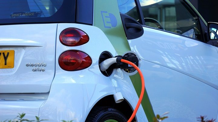 An electric car on charge Pic: Mikes Photos