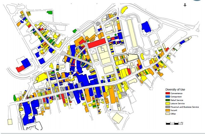 This shows what buildings are used for in Preston city centre - vacant buildings are in orange