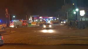 Fire engines viewed from the Docks roundabout at KFC Pic: Christopher Bradley