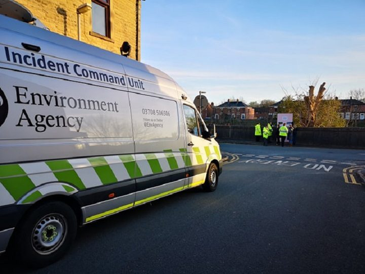 Environment Agency staff showcase the flood defences Pic: Chris Hough