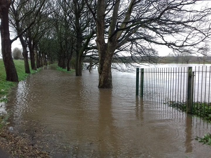 River coming over its banks in Frenchwood Pic: Lisa Brown