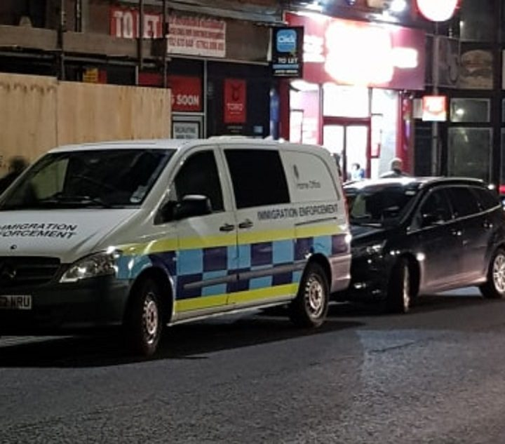 The Home Office vehicle seen outside the takeaway Pic: Blog Preston