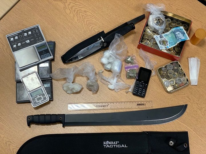 Drugs, mobiles phones, knives and cash were found Pic: Preston Police