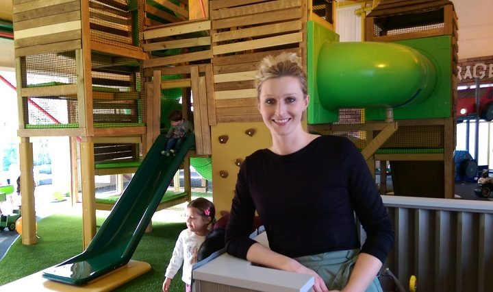 Lisa with the giant climbing frame behind her Pic: Blog Preston
