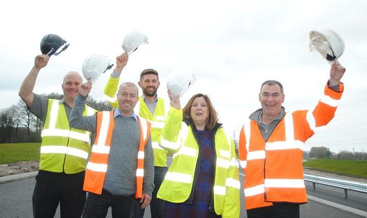 L to R: Steward Walsh, Richard Hunt (Hunt Plant Hire) Garreth Kelly (LCC) Wendy McIntosh & Andy Cameron (Rotary Club of Preston Guild)