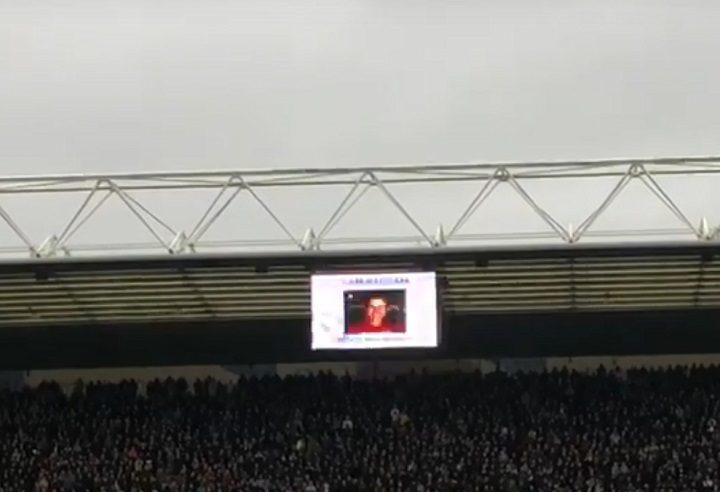 Sam Pegram's image was displayed on the Deepdale big screens Pic: Kate Rosindale/Blog Preston
