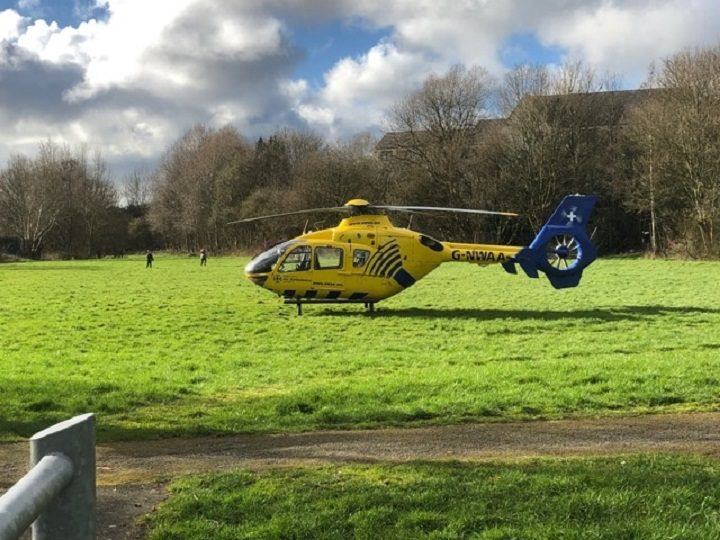 The air ambulance in Ribbleton on Saturday afternoon Pic: Stephen Melling