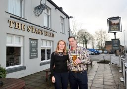 Rowena and Martin outside The Stags Head