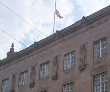 The Union Flag at half-mast in response to the terror attack
