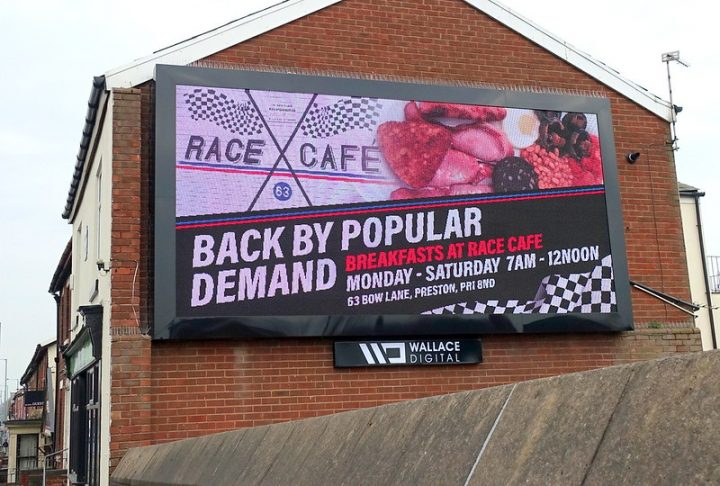 The billboard on the side of the cafe in Blackpool Road Pic: Tony Worrall