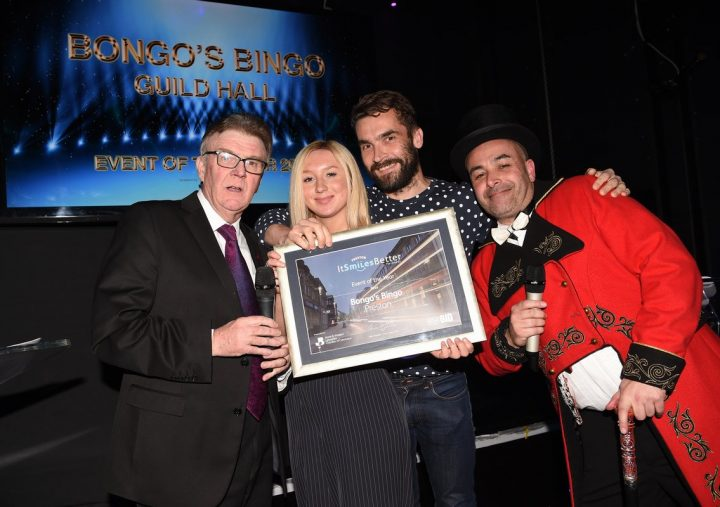Bongo's Bingo team picking up their award